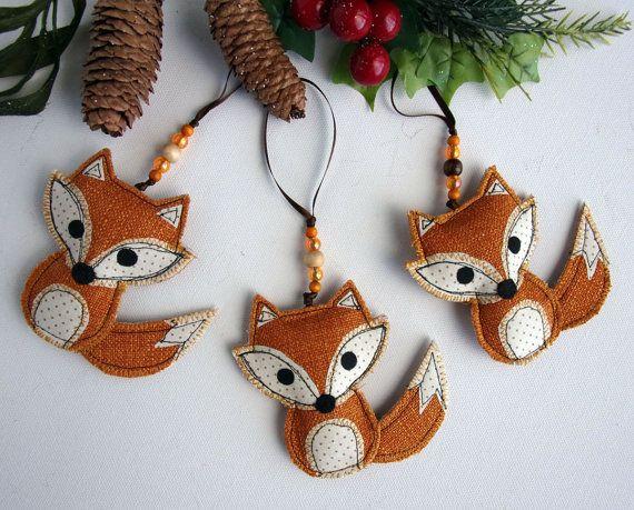 Fox Ornament Fabric Fox Woodland Decoration Fox by SwinkyDoo