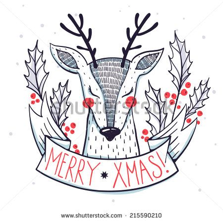 Christmas illustration of a cute deer with holly berries - stock vector                                                                                                                                                                                 More