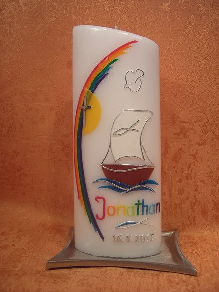 Kommunionkerzen - Tauf - Kommunionkerze    Regenbogen - Boot  260 - ein Designerstück von KerzenundGeschenke bei DaWanda
