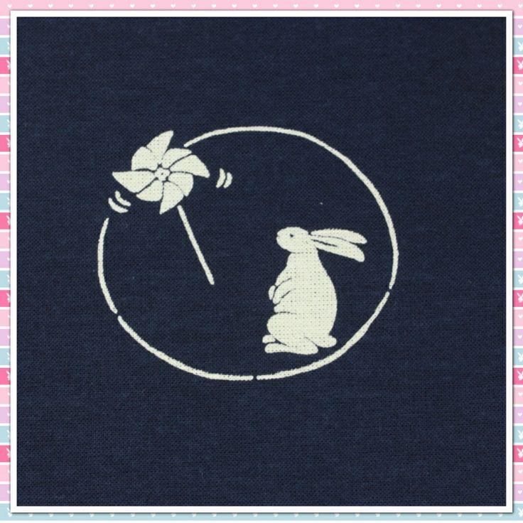 2. Cotton Fabric - Rabbit & Toy Windmill
