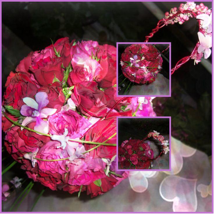 Ball av roser med orchidè, svibel og steelgrass. (Øvingsbukett)