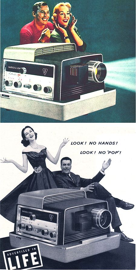 Bausch & Lomb was the first slide projector manufacturer to offer automatic focus, and its Balomatic models (shown here in 1958)