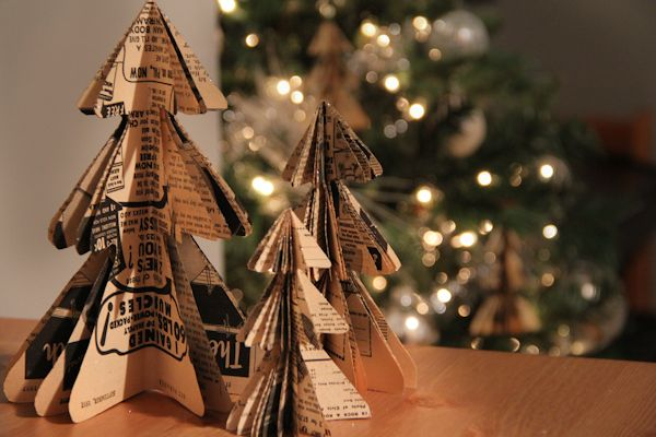 Easy and beautiful DIY holiday ornaments made from old book pages. #cydconverse