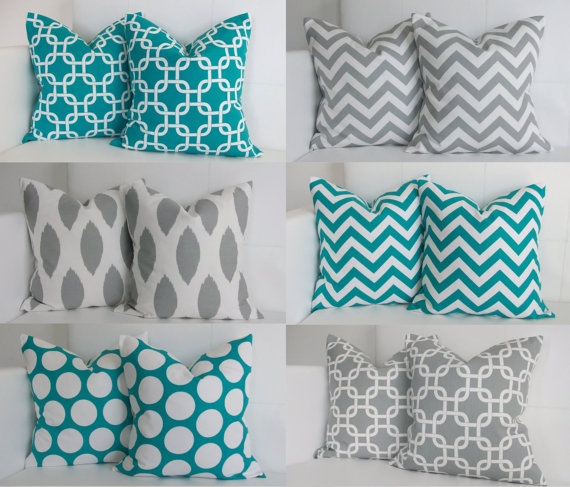 Four  Four Turquoise and Gray Decor Pillow Covers by skoopehome, $70.00
