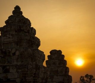 The silhouetted temples of cambodia