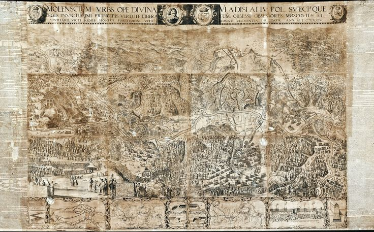 Map with the Siege of Smolensk (1632–33) created for Ladislaus IV Vasa by Unkown from Poland (Gdańsk?), 1634 (PD-art/old), Skoklosters slott