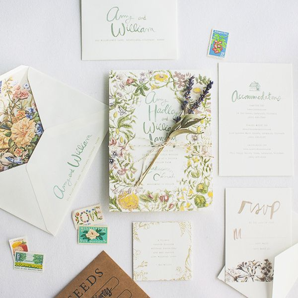 Bohemian Botanical Hand Lettered Wedding Invitations Lucky Luxe Couture Correspondence OSBP4