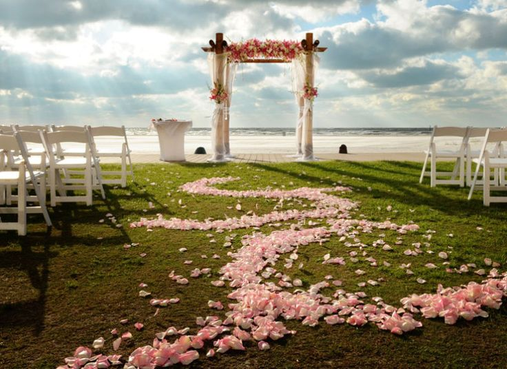 Florida Beach Wedding With Pink Flower Aisle Petals