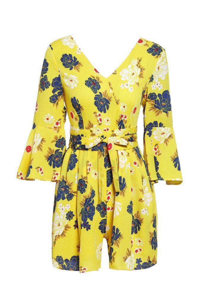 Retro Floral Tie-Waist Yellow Playsuit