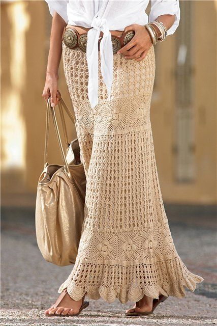 Crochet maxi skirt free pattern.