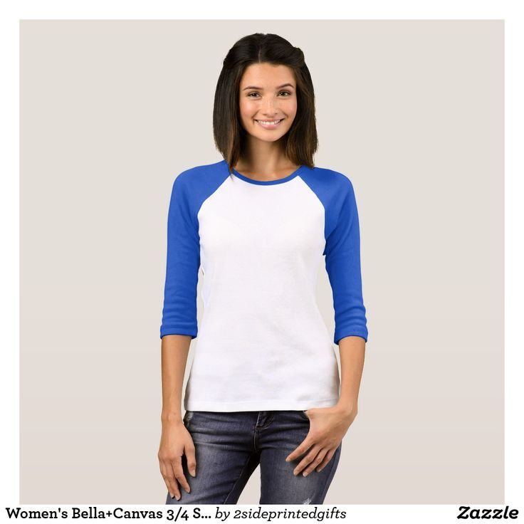 Women's Bella+Canvas 3/4 Sleeve Raglan T-Shirt Cut
