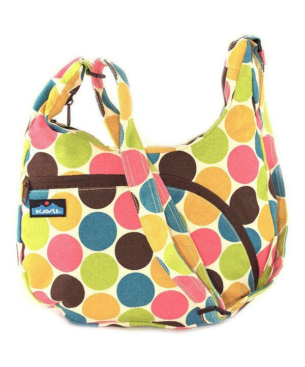 Kavu Yellow Green Dot Sydney Crossbody Bag