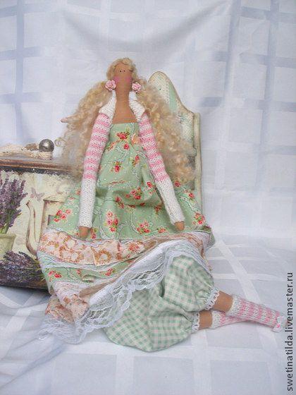 по мотивам Элоди - мятный,нежность,бусы,бохо,кукла,тильда,кукла ручной работы