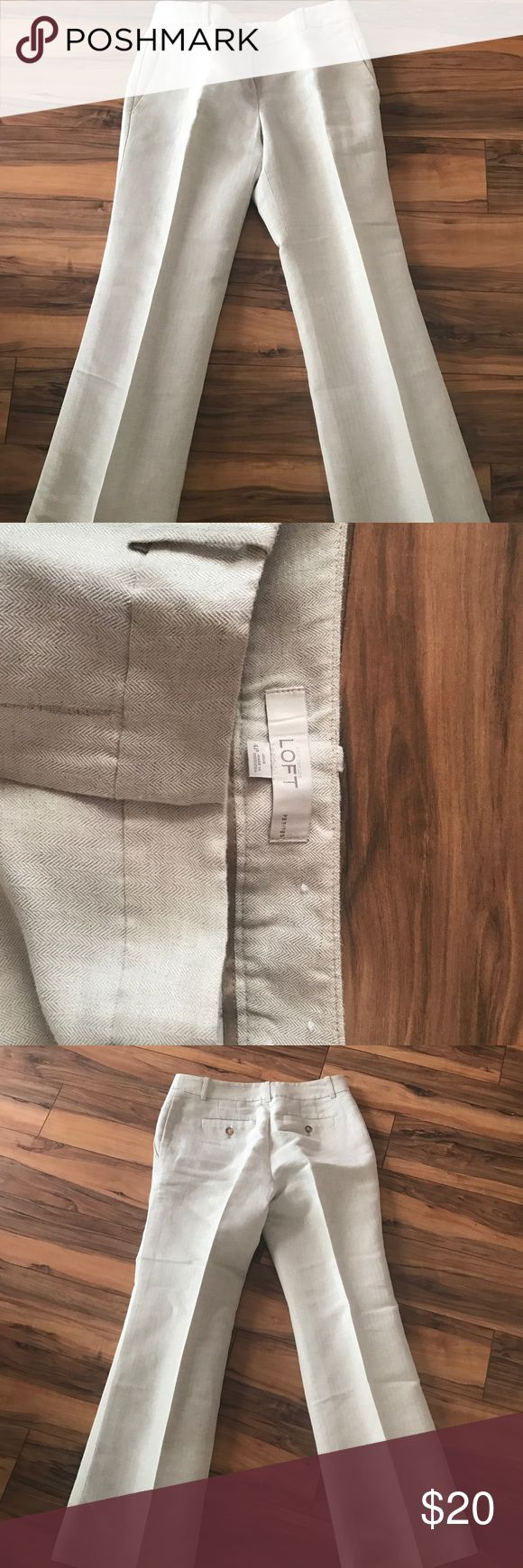Ann Taylor Loft size 4 petite dress pants Light beige dress pants with a light silver shimmer, size 4 petite, excellent condition from a non smoking home. These pants have been dry cleaned after the last wear. There is minimal wear from where the pants have touched the ground. Dry clean only Ann Taylor Loft Pants Trousers