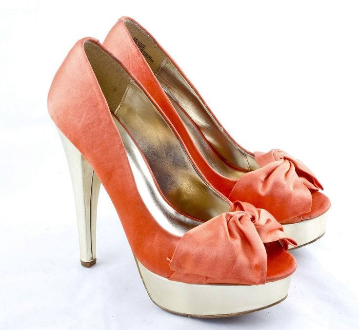 Candie's Sunny Peep Toe Platform Pumps, Orange Women's size 7.5 M  #Candies…