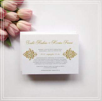 Esküvő meghívó – Arany mintás