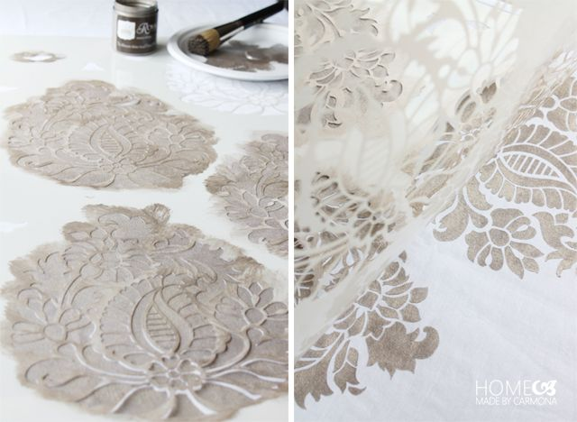 Stencil Designs for High End Custom Style - Bedroom Makeover with DIY Painted and Stenciled Pillows and Curtains - Indian Damask Paisley Stencils - Royal Design Studio