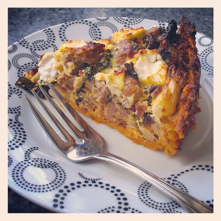 Roasted Cauliflower, Turkey Sausage & Kale Pie with Sweet Potato Crust