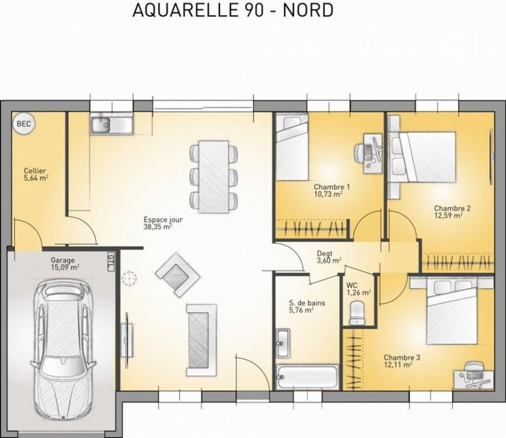 plan achat maison neuve construire maisons france confort aquarelle 90 enduit ev plan. Black Bedroom Furniture Sets. Home Design Ideas