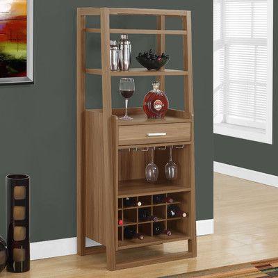 Monarch Specialties Inc. Bar with Wine Storage Finish: Walnut