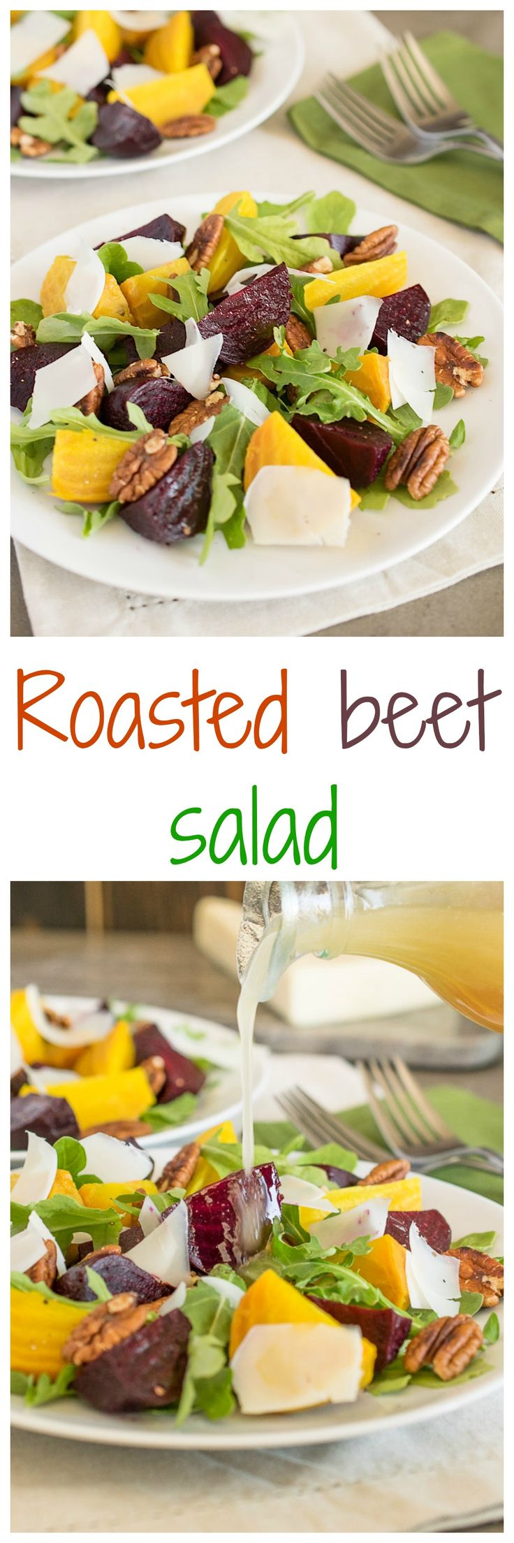 Red and gold beets roasted to perfection served over arugula with toasted pecans with a light lemon vinaigrette. #healthysalad #lowcarb