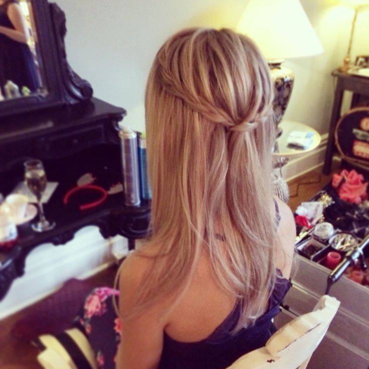 Ellingham hall wedding hair North East wedding hairdresser bridal hair Plaits half up half down do Braided hair styles Straight plait