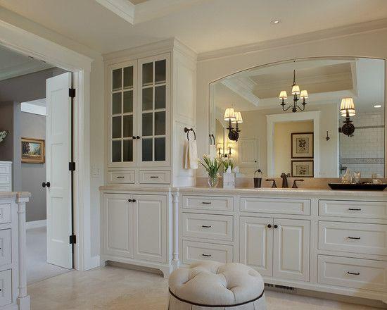 Luxury Small Beveled Mirror Tiles Design White Master Bathroom With Big Around