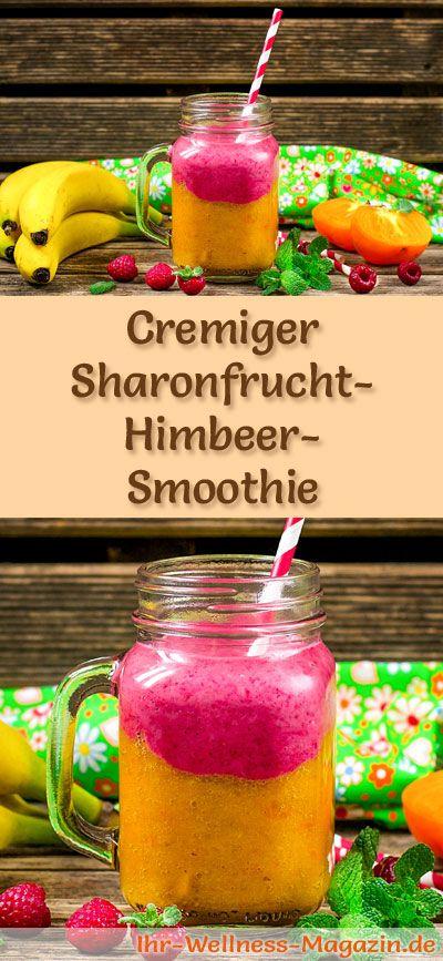 Sharonfrucht-Himbeer-Smoothie selber machen - ein gesundes Smoothie-Rezept zum Abnehmen für Frühstücks-Smoothies oder sättigende Diät-Mahlzeiten ...
