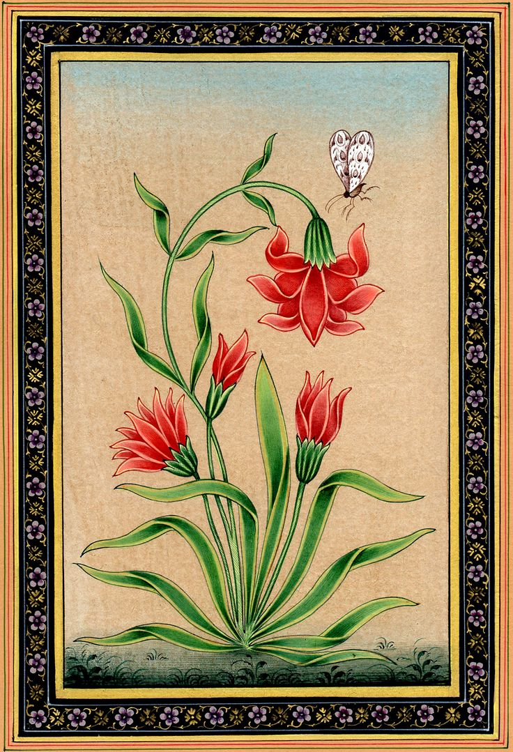 """Mughal Flower with Butterfly"" by Kailash Raj."