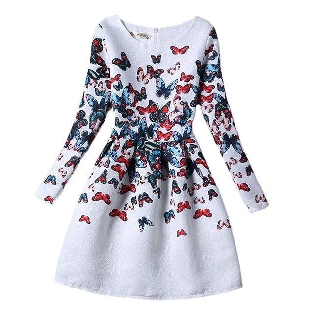 Mother Daughter Dress New Casual Butterfly Print White Party Dresses Long Sleeve Matching Family Clothes 6-8T S-XL GD55 #ParentingTeenagers