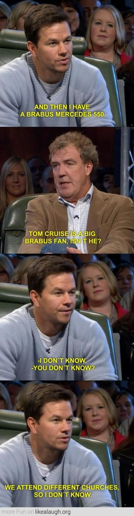 Mark Wahlberg on Tom Cruise <--- I'm not a Mark Wahlberg fan but this is a fantastic response to being lumped in with Crazy Cruise.