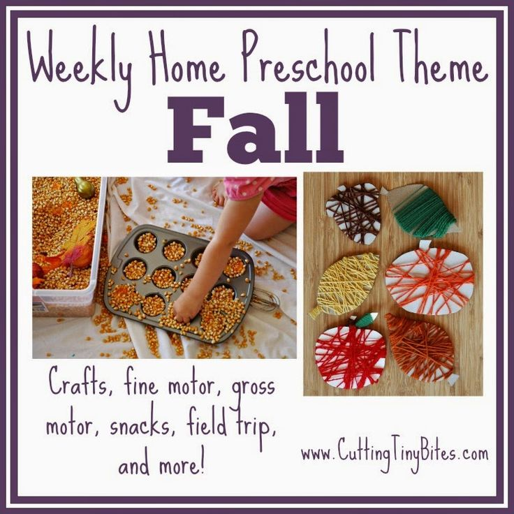 Fall Theme- Weekly Home Preschool.  Great autumn activities for kids-- crafts, picture books, snacks, field trip suggestions, and more!  Perfect amount of activities for one week of EASY home preschool.