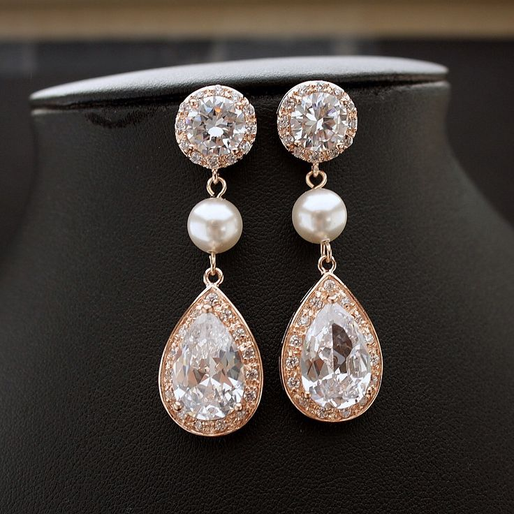 ROSE GOLD Round Post Bridal Earrings Clear Cubic Zirconia Teardrop with White OR Cream Pearl Earrings Wedding Jewelry Bridal Jewelry by poetryjewelry on Etsy https://www.etsy.com/listing/190921995/rose-gold-round-post-bridal-earrings