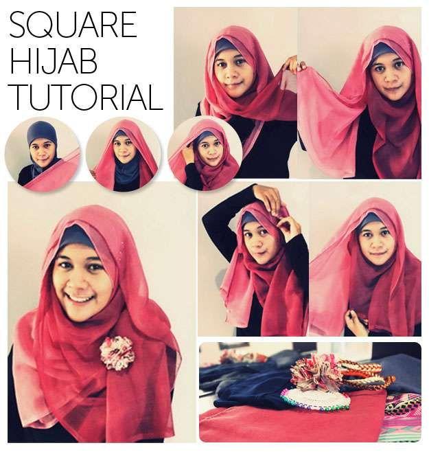 Square scarf hijab style dresses