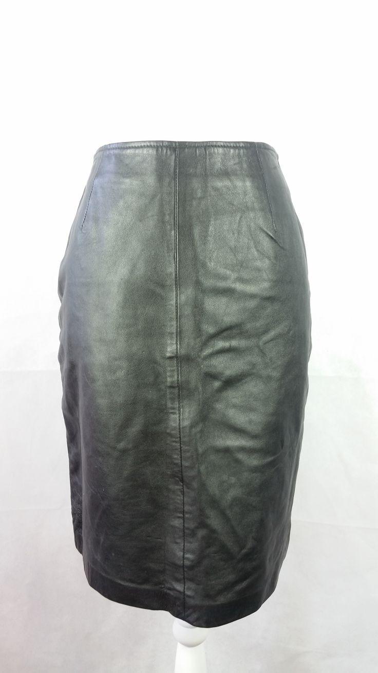 Vintage 80s Black Genuine Leather Pencil Skirt Sz 10 Medium