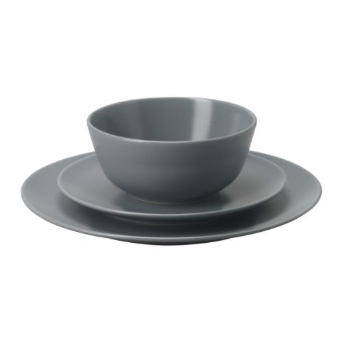 IKEA - DINERA, 18-piece service, With its simple shapes, muted colours and matt glaze, the dinnerware gives a rustic feel to your table setting.