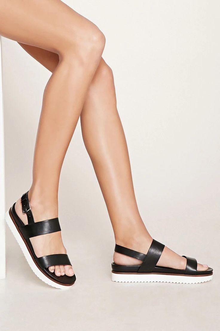 Faux Leather Flatform Sandals #thelatest