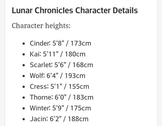 """I don't think this is canon, but really helpful nonetheless.  I think some of the boys would be taller though.  I vote Wolf is 6'7"""", and Thorne is 6'3""""  and Jacin is 6""""4"""