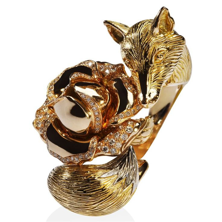 Édéenne Fox ring in rose and yellow gold with diamonds