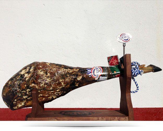 Iberian ham  http://www.mediterraneandeli.eu/epages/64369807.sf/en_GB/?ObjectPath=/Shops/64369807/Categories/Category1