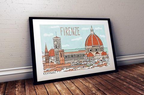 Lakásdekoráció kép, kerettel, ingyenes szállítással: Szeretünk utazni! - Firenze (hintapalinta) - Meska.hu