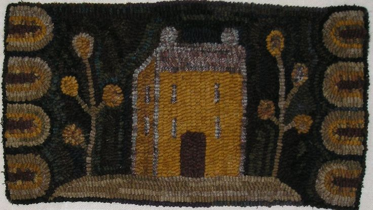 Hand Hooked Rug Early Style Primitive Pumpkin House Rug |        ...~♥~