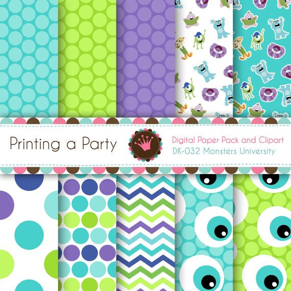 Digital Paper Pack and Clip Art Monsters University Monsters Inc. Party Supplies. Personal and Small Commercial Use