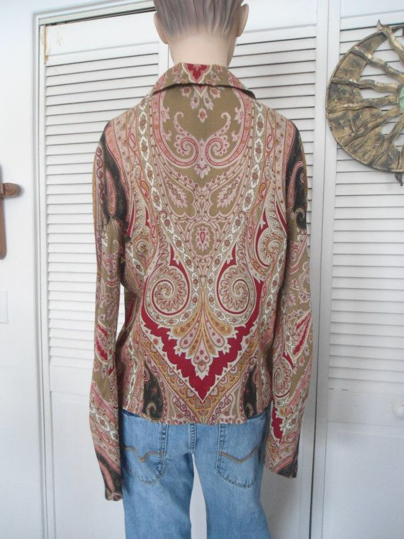Hippie Blouse Boho Size 10 Womens Hippie Paisley by LandofBridget