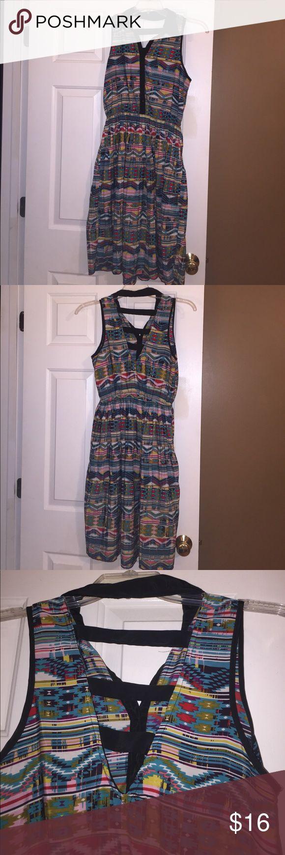 "Aztec Printed Short Sleeve Dress Aztec printed dress. Short sleeve with a collar. Dress length hanging up is 39"". Dresses Midi"