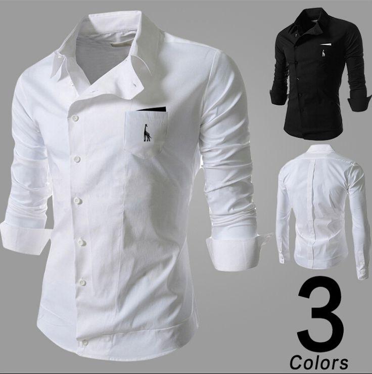Camisa Masculino Social Mens Shirts Fashion 2015 Spring Ropa De Hombre  Camicia… Slim Fit ...