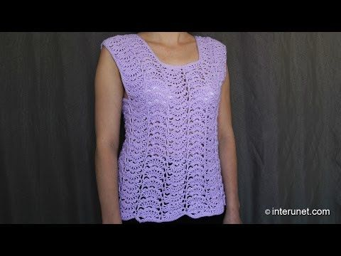 ▶ Japanese fan stitch women's top crochet pattern - crochet short sleeve lace sweater - YouTube