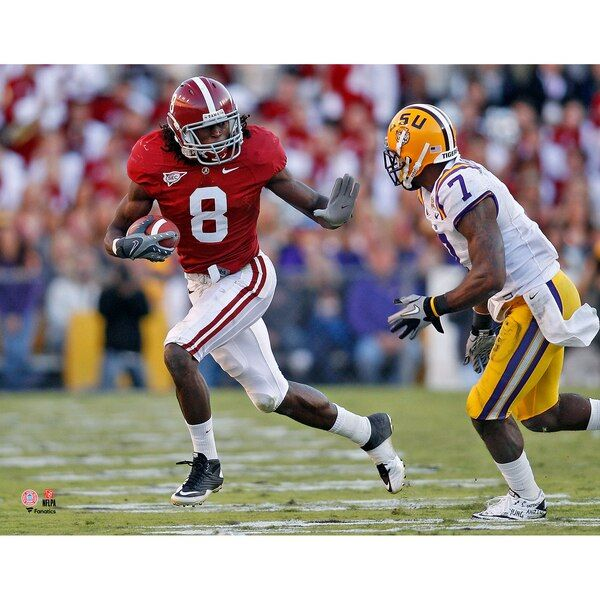 Julio Jones Alabama Crimson Tide Fanatics Authentic Unsigned Vertical Stiff Arm Vs Lsu Photograph Alaba Football Helmets Alabama Crimson Tide Alabama Crimson