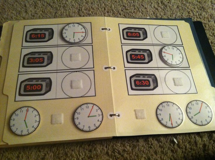 """What time is it?"" Digital to analog matching file folder game. You could create this with a download from my TPT store:Follow me on TPT, Like my page on Facebook, & Follow my boards on Pinterest for more Autism related ideas! http://www.teacherspayteachers.com/Product/Digital-to-Analog-Time-to-the-Hour-match-Cut-and-Paste-Draw-in-Hands-Autism-373872"