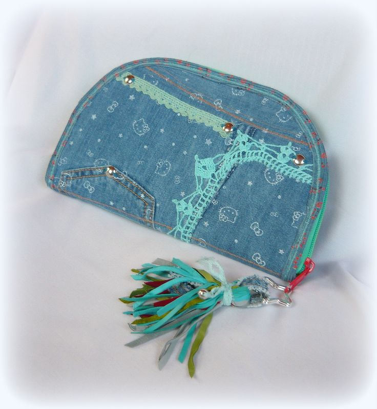 Hello Kitty Denim wallet-clutch with leather fringe. Recycled wallet. Handmade by Judy Majoros